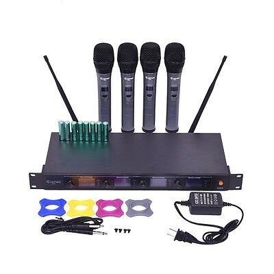 Home KTV 4 Channel VHF Professional Wireless w/4 Mics Handheld Microphone System