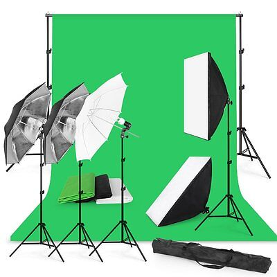 Photography Studio Backdrop Softbox Umbrella Lighting Kit Background Stand Set T