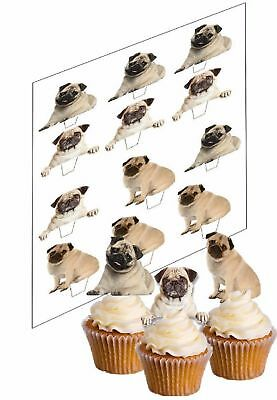 12 Pug Dog Cupcake Picks Uncut Ricepaper Cake Decorations Toppers Dogs Pugs
