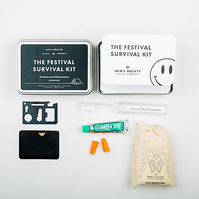 Men's Society Festival Kit in a tin Including Poncho, Earplugs and Tootbrush