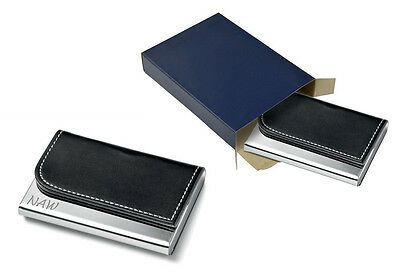 Personalised Leatherette Business Card Holder - Engraved With Initials