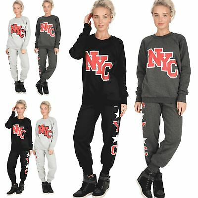 Ladies Essentials Jog Suit Womens NYC Tracksuit Bottoms Jogging Sweatshirt Set
