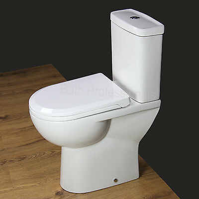 Toilet WC Close Coupled Compact Comfort Height Disabled Soft Seat Cover 110H