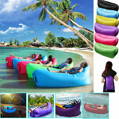 Outdoor Lazy Inflatable Couch Air Sleeping Sofa Lounger Bag Camping Portable Bed