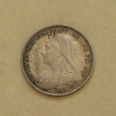 Silver Maundy Threepence 1898 Coin Queen Victoria Extremely Fine Grade