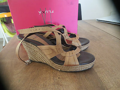 SANDALS FLUXA leather+canvas beige glossy NEW Val E wedge 9cm Point 40