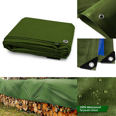 Heavy Duty Tarpaulin Cover Sheeting Green Waterproof Eyelet Ground Sheet Tarp