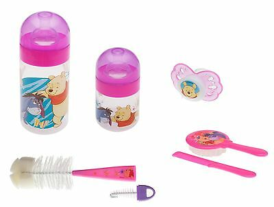 Winnie Pooh rose Bouteille 125 ml + 250 ml + Brosse + Hair care + Tétine