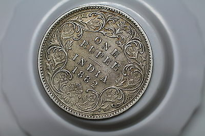 India 1 Rupee 1882 Dot Silver Nice Details Victoria A53 #5560