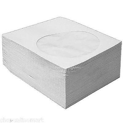 100 CD Sleeves DVD CD-R Paper sleeve with Window Flap white case HQ