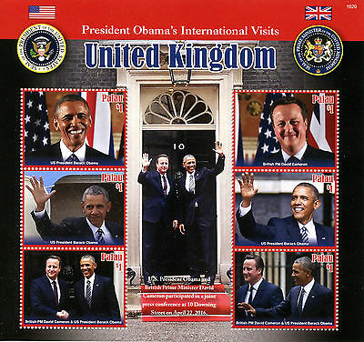 Palau 2016 MNH US President Barack Obama Visits UK 6v M/S David Cameron Stamps