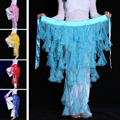 Belly Dance Hip Scarf Triangle Dancing Sequin Skirt Waves Tassel Waist Belt Wrap