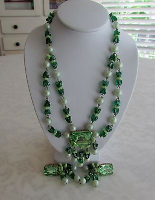 Vtg Signed West Germany Necklace~Clip Earrings Green Peridot & Art Glass Beads