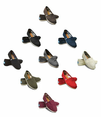 New Authentic TOMS Women's CLASSIC Solid Canvas Slip on flats shoe's US Sizes