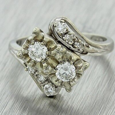 1930s Antique Art Deco Estate 14k Solid White Gold .40ctw Diamond Cluster Ring