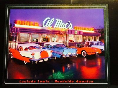 Al Mac's Diner TIN SIGN Vtg Metal Wall Decor Retro Classic Car Photo Lewis