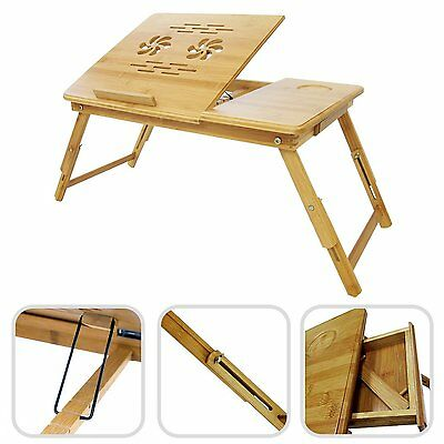 Bamboo - laptop table - foldable portable adjustable lap in bed table portable