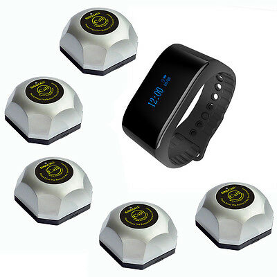 SINGCALL Wireless Calling System 1 Waterproof Receiver,5 Waiter Pagers for Cafe
