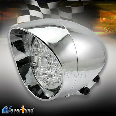 "7"" LED Motorcycle Bullet Chrome Headlight Light For Harley Choppers Custom 12V"