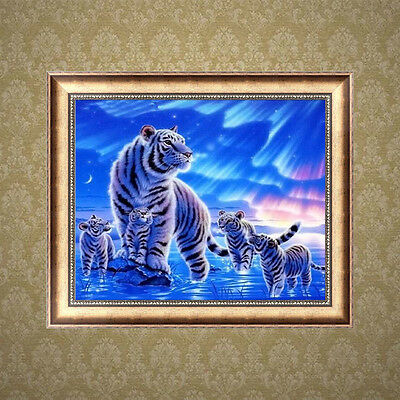5D DIY Tiger Family Round Diamond Embroidery Painting Cross Stitch Crafts