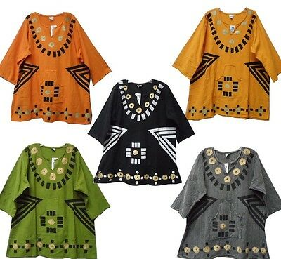 Dashiki Vintage Men women Mud cloth Shirt African Blouse Organic Cotton One Size