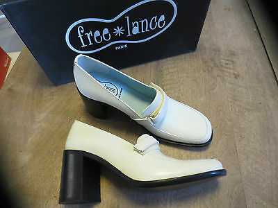 FREE LANCE Loafer beige leather NEW Heel 7cm Sizes 35,39
