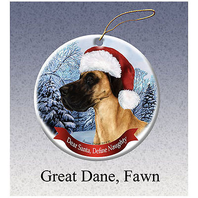 Great Dane Uncropped Fawn Howliday Porcelain China Dog Christmas Ornament