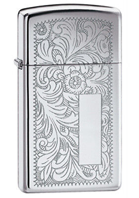 Zippo High-Polished Chrome Venetian Lighter - Slim 1652 Genuine
