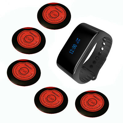 SINGCALL Wireless Waiter Calling System Restaurant 1 Waterproof Watch, 5 Pagers
