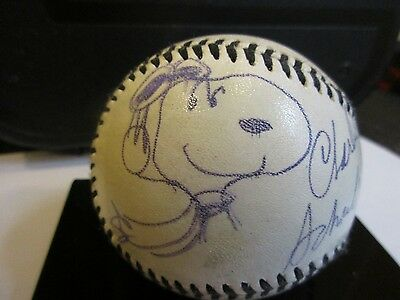 Charles Schulz Novelty Autographed Baseball w/ Peanuts Snoopy Sketch # 2