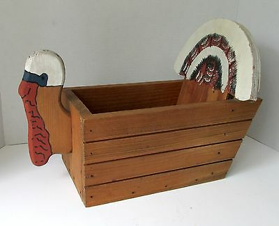 New TURKEY WOOD BOX CONTAINER CADDY Country Hearth Handmade Thanksgiving Autumn