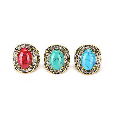 Fashion Stainless Steel Men's Turquoise Crystal Vintage Ring Size 7 8 9 10 JB