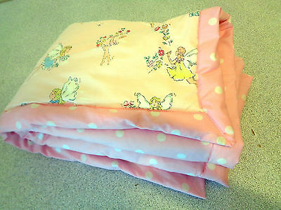 WADDED COT PRAM BUGGY FLOOR MAT THROW in CATH KIDSTON FLOWER FAIRIES SPOT PINK