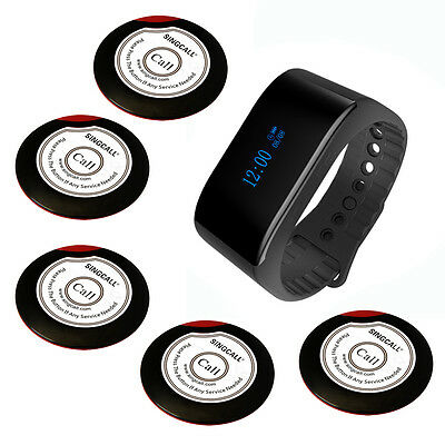 SINGCALL Wireless Calling System of 5 Single Button Pagers and 1 Waterpoof Watch
