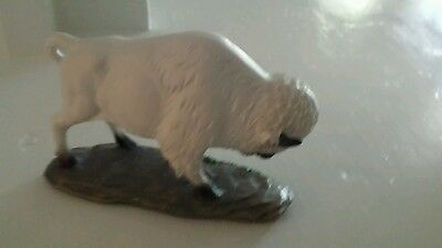 Native inspired white buffalo sacred statue figure