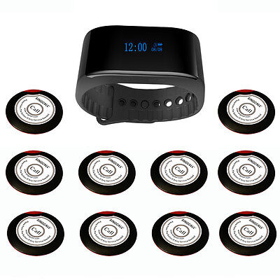 SINGCALL Wireless Calling System of 10 Single Button Pagers, 1 Waterpoof Watch