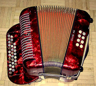 Look !! Made In Germany C/f Club Hohner Diatonic  Accordion + Straps + Case