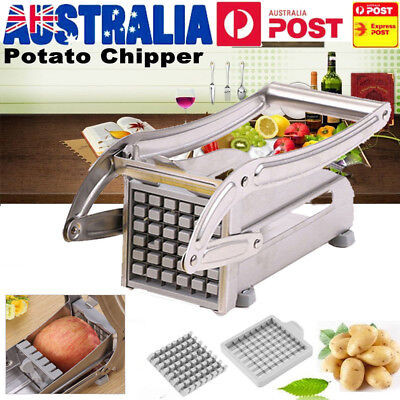 2 Blades Stainless French Fries Slicer Potato Chipper Chip Cutter Chopper Maker