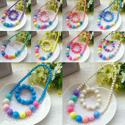 Kids Toddler Child Girls Colorful Bead Necklace Bracelet Jewelry Set Kids Gift