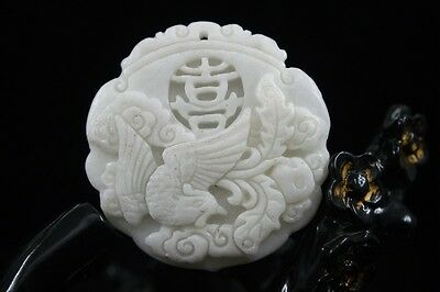 Chinese natural White  jade pendant  carved amulet Pendant  Necklace Phoenix 25