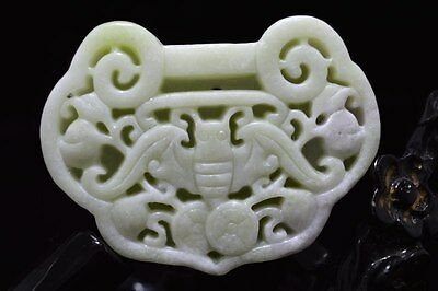 Chinese natural White  jade carved amulet Pendant Necklace 长命锁 45