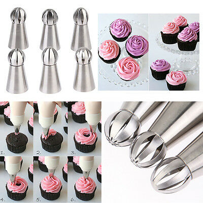 6 Cake Russian Icing Piping Cream Nozzles Pastry Cupcake Dessert Decorating Tool