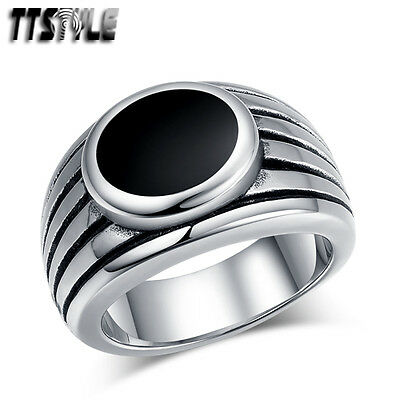 High Quality TTstyle 316L Stainless Steel Oval Band Ring NEW Size 7-13