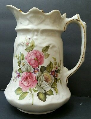 """Old Foley Harmony Rose Pitcher 7"""" James Kent Ltd. Staffordshire  Made in England"""