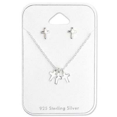 Sterling Silver Girls Holy Cross Set Earrings & Necklace Baptism Communion Gift