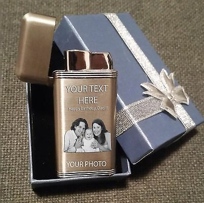 Personalised Gift Lighter. Photo Text Engraved Present Lighter. In Bag. 7 Styles