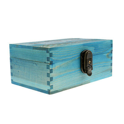 Vintage Blue Wooden Jewellery Box with Metal Lock & Key Trinket Chest Crafts
