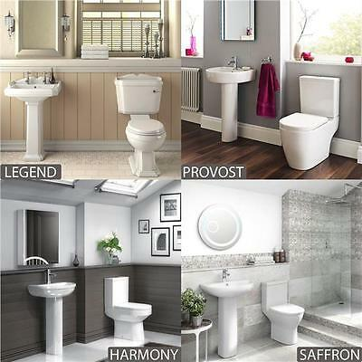 Modern Bathroom Suite WC Basin Sink Close Coupled Toilet And Full Pedestal