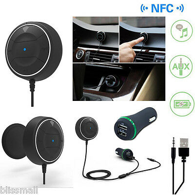 NFC Bluetooth Car Kit Speaker Phone Handsfree Stereo Music Receiver+Car Charger