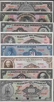 Mexico 1 to 1000 Pesos 1950's -1970's 8 notes Specimen Set Uncirculated Banknote